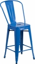 24'' High Blue Metal Indoor-Outdoor Counter Height Stool with Back [CH-31320-24GB-BL-GG]