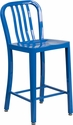 24'' High Blue Metal Indoor-Outdoor Counter Height Stool with Vertical Slat Back [CH-61200-24-BL-GG]