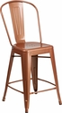 24'' High Copper Metal Indoor-Outdoor Counter Height Stool with Back [ET-3534-24-POC-GG]