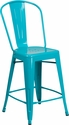 24'' High Crystal Teal-Blue Metal Indoor-Outdoor Counter Height Stool with Back [ET-3534-24-CB-GG]