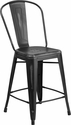 24'' High Distressed Black Metal Indoor-Outdoor Counter Height Stool with Back [ET-3534-24-BK-GG]