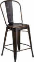 24'' High Distressed Copper Metal Indoor-Outdoor Counter Height Stool with Back [ET-3534-24-COP-GG]