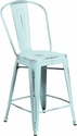 24'' High Distressed Green-Blue Metal Indoor-Outdoor Counter Height Stool with Back [ET-3534-24-DB-GG]