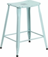 24'' High Distressed Green-Blue Metal Indoor-Outdoor Counter Height Saddle Comfort Stool [ET-3604-24-DISBL-GG]