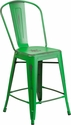 24'' High Distressed Green Metal Indoor-Outdoor Counter Height Stool with Back [ET-3534-24-GN-GG]