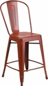 24'' High Distressed Kelly Red Metal Indoor-Outdoor Counter Height Stool with Back [ET-3534-24-RD-GG]