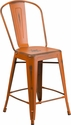 24'' High Distressed Orange Metal Indoor-Outdoor Counter Height Stool with Back [ET-3534-24-OR-GG]