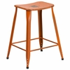 24'' High Distressed Orange Metal Indoor-Outdoor Counter Height Saddle Comfort Stool [ET-3604-24-DISOR-GG]