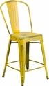 24'' High Distressed Yellow Metal Indoor-Outdoor Counter Height Stool with Back [ET-3534-24-YL-GG]