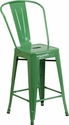 24'' High Green Metal Indoor-Outdoor Counter Height Stool with Back [CH-31320-24GB-GN-GG]