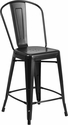 24'' High Matte Black Metal Indoor-Outdoor Counter Height Stool with Back [CH-24STOOL-BK-GG]