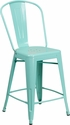 24'' High Mint Green Metal Indoor-Outdoor Counter Height Stool with Back [ET-3534-24-MINT-GG]