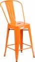 24'' High Orange Metal Indoor-Outdoor Counter Height Stool with Back [CH-31320-24GB-OR-GG]
