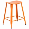 23.75'' High Orange Metal Indoor-Outdoor Counter Height Saddle Comfort Stool [ET-3604-24-OR-GG]
