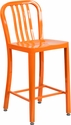 24'' High Orange Metal Indoor-Outdoor Counter Height Stool with Vertical Slat Back [CH-61200-24-OR-GG]