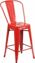 24'' High Red Metal Indoor-Outdoor Counter Height Stool with Back [CH-31320-24GB-RED-GG]