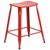24'' High Red Metal Indoor-Outdoor Counter Height Saddle Comfort Stool [ET-3604-24-RED-GG]