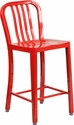 24'' High Red Metal Indoor-Outdoor Counter Height Stool with Vertical Slat Back [CH-61200-24-RED-GG]