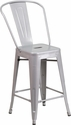 24'' High Silver Metal Indoor-Outdoor Counter Height Stool with Back [CH-31320-24GB-SIL-GG]