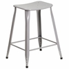 24'' High Silver Metal Indoor-Outdoor Counter Height Saddle Comfort Stool [ET-3604-24-SIL-GG]