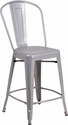 24'' High Silver Metal Indoor-Outdoor Counter Height Stool with Back [CH-24STOOL-SIL-GG]