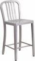 24'' High Silver Metal Indoor-Outdoor Counter Height Stool with Vertical Slat Back [CH-61200-24-SIL-GG]