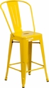24'' High Yellow Metal Indoor-Outdoor Counter Height Stool with Back [CH-31320-24GB-YL-GG]