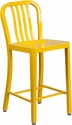 24'' High Yellow Metal Indoor-Outdoor Counter Height Stool with Vertical Slat Back [CH-61200-24-YL-GG]