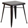 23.75'' Square Black-Antique Gold Metal Indoor-Outdoor Table [CH-31330-29-BQ-GG]