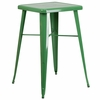 23.75'' Square Green Metal Indoor-Outdoor Bar Height Table [CH-31330-GN-GG]
