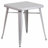 23.75'' Square Silver Metal Indoor-Outdoor Table [CH-31330-29-SIL-GG]