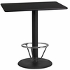 24'' x 42'' Rectangular Black Laminate Table Top with 24'' Round Bar Height Table Base and Foot Ring [XU-BLKTB-2442-TR24B-4CFR-GG]