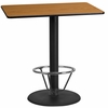 24'' x 42'' Rectangular Natural Laminate Table Top with 24'' Round Bar Height Table Base and Foot Ring [XU-NATTB-2442-TR24B-4CFR-GG]