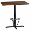 24'' x 42'' Rectangular Walnut Laminate Table Top with 22'' x 30'' Bar Height Table Base and Foot Ring [XU-WALTB-2442-T2230B-3CFR-GG]