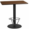 24'' x 42'' Rectangular Walnut Laminate Table Top with 24'' Round Bar Height Table Base and Foot Ring [XU-WALTB-2442-TR24B-4CFR-GG]