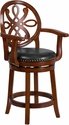 26'' High Brandy Wood Counter Height Stool with Arms and Black Leather Swivel Seat [TA-550226-BDY-GG]