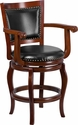 26'' High Cherry Wood Counter Height Stool with Black Leather Swivel Seat [TA-2125-24-CHY-GG]