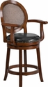 26'' High Expresso Wood Counter Height Stool with Arms and Black Leather Swivel Seat [TA-550426-E-CTR-GG]