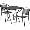 28'' Square Black Indoor-Outdoor Steel Folding Patio Table Set with 2 Round Back Chairs [CO-28SQF-03CHR2-BK-GG]