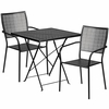 28'' Square Black Indoor-Outdoor Steel Folding Patio Table Set with 2 Square Back Chairs [CO-28SQF-02CHR2-BK-GG]