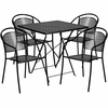 28'' Square Black Indoor-Outdoor Steel Folding Patio Table Set with 4 Round Back Chairs [CO-28SQF-03CHR4-BK-GG]