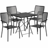 28'' Square Black Indoor-Outdoor Steel Folding Patio Table Set with 4 Square Back Chairs [CO-28SQF-02CHR4-BK-GG]