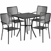 28'' Square Black Indoor-Outdoor Steel Patio Table Set with 4 Square Back Chairs [CO-28SQ-02CHR4-BK-GG]