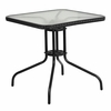 28'' Square Tempered Glass Metal Table with Black Rattan Edging [TLH-073R-BK-GG]