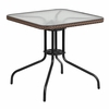 28'' Square Tempered Glass Metal Table with Dark Brown Rattan Edging [TLH-073R-DK-BN-GG]
