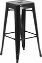 30'' High Backless Black Metal Indoor-Outdoor Barstool with Square Seat [CH-31320-30-BK-GG]