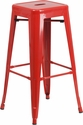 30'' High Backless Red Metal Indoor-Outdoor Barstool with Square Seat [CH-31320-30-RED-GG]