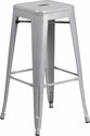 30'' High Backless Silver Metal Indoor-Outdoor Barstool with Square Seat [CH-31320-30-SIL-GG]