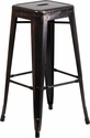 30'' High Backless Black-Antique Gold Metal Indoor-Outdoor Barstool with Square Seat [CH-31320-30-BQ-GG]