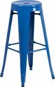 30'' High Backless Blue Metal Indoor-Outdoor Barstool with Round Seat [CH-31350-30-BL-GG]